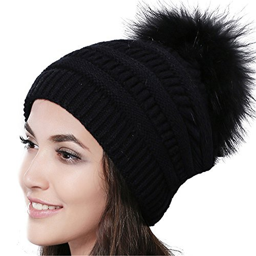 74eac1ea2ac25 Details about Furtalk Womens Winter Slouchy Beanie Cap With Real Fur Pom  Pom Hat GIFT NEW XMAS