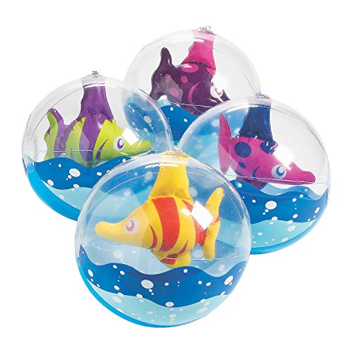 Fun Express Inflatable Tropical Fish Beach Balls (Set of 12) 11 Inch Inflated