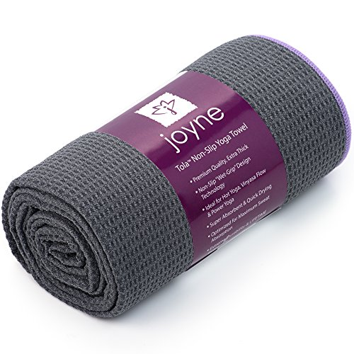 Joyne Tola™ Non Slip Yoga Towel ★ #1 Best Hot Yoga Towel For Yogis Who Sweat ★ Skidless, Anti-Slip, Wet Grip Design ★ Super Absorbent, Antimicrobial Protection ★ 100% Lifetime Guarantee