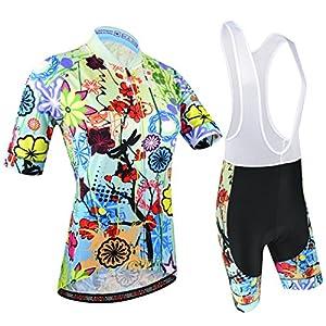 51KQbTSPuWL. SS300 BXIO Abbigliamento Ciclismo Donna, Maglie Ciclismo Maniche Corte con Pantaloncini Ciclismo da Ciclismo Asciugatura…