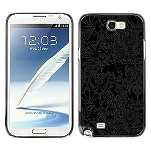 QCASE / Samsung Note 2 N7100 / panda puma oso papel pintado conejo misha / Delgado Negro Plástico caso cubierta Shell Armor Funda Case Cover