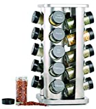 Orii GSR3421 Rivetto Jar Rotating Spice Rack, Steel with black caps