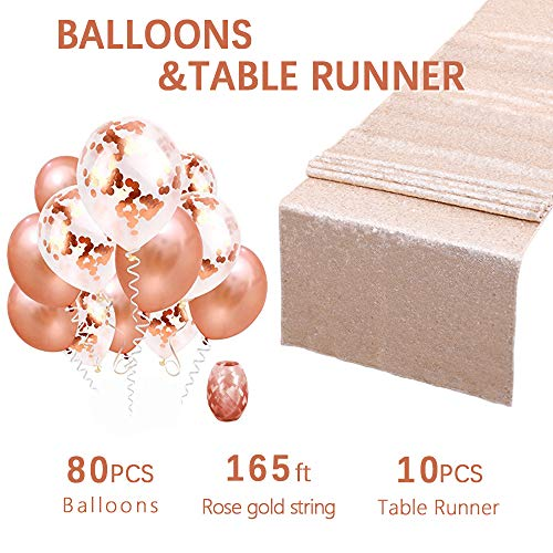 10-Pack Champagne Blush Sequin Table Runner 12x108 Inches Sequin Wholesale Sequin Table Runners Wedding table runners with Confetti Balloons and Rose Gold Latex Balloons as gifts by QueenDream ()