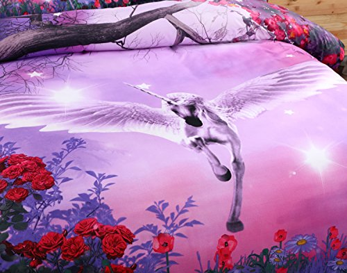 Alicemall 3D Unicorn Bedding Purple Bedding Set Dreamlike Flying Horse with Wings Purple Polyester 3D College Bedding Set, 4 Pieces, Duvet Cover, Bed Sheet and 2 Pillow Cases (Twin XL) by Alicemall (Image #2)