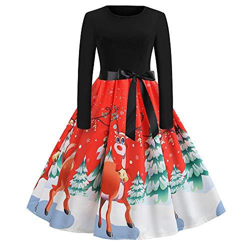Hepburn nbsp;4 Pin Longue Audrey Femmes Noël vintage Mrulic Dentelle Années Imprimé rouge De Soirée 50 Rétro Manches Cocktail Vintage 1950's Up Robe X Année mn8Nw0