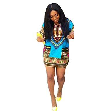 Yoyorule Women African Print Casual Plus Size Above Knee Mini ...