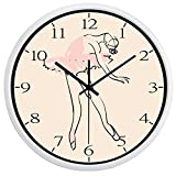 Popular Ballet Girl Artistic Wall Clock Glass Dance Room Decoration Number Clock(10inch,White Frame)