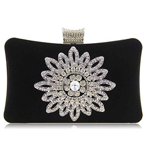 Pochette Da Donna Flower Diamond Evening Bag Borsa A Tracolla High End Flanella Party Bag Nera