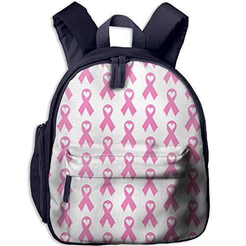 Breast Cancer Awareness Ribbon With Heart Double Zipper Waterproof Children Schoolbag Backpacks With Front Pockets For Kids