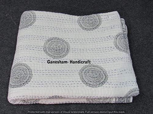GANESHAM Indien Gypsy Plat Haut Boho Parure de lit Vintage King Size Kantha Couvre-lit couvertures Bohemian Couvre-lit 228,6/x 274,3/cm