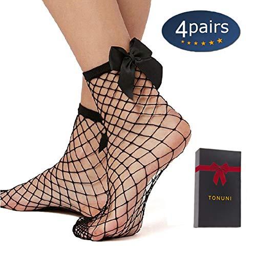 - Tonuni 4 Pairs Women's Summer Sexy Thin Fishnet Short Pantyhose Socks