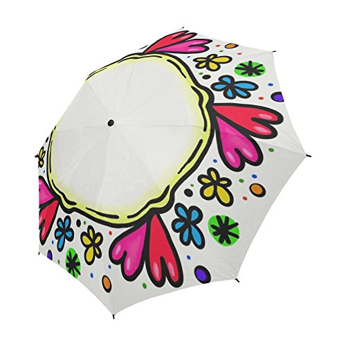 (ENEVOTX Border Frame Round Shapes Copyspace Blank Unique Umbrella Semiautomatic Foldable Umbrella Foldable Travel Rainy Sunny Gift)