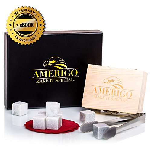 Luxury Whiskey Stones Gift Set by Amerigo - Set of 9 Whiskey Rocks - Reusable Drinking Ice Stones - Chilling Stones Gift Set with Hand Crafted Wooden Box, Stainless Steel Tongs and Classy Coaster by Amerigo