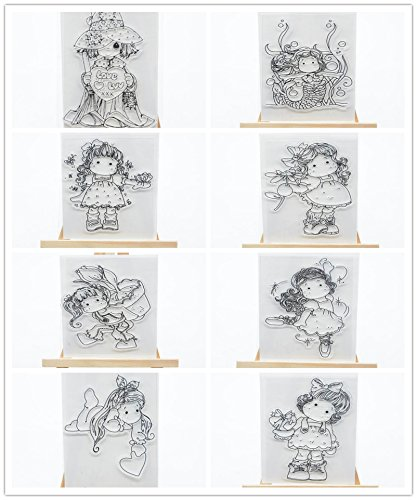WooYangFun Joyful Home 8pcs//set Lovely Girl Rubber Clear Stamp for Card Making Decoration and Scrapbooking