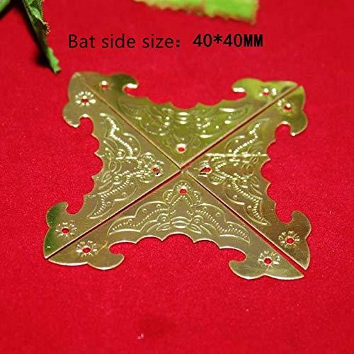 BIG-DEAL_Bulk Filigree Triangle Bat Coner Cabochon,Ancient Yellow Corner,Flatback Metal Embellishments Scrapbooking,Decor for Wooden Box - (Color:59mm)