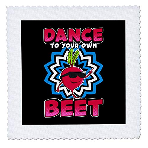 3dRose Sven Herkenrath Food - Dance to Your own Beat Funny Vegetable Radish Food - 14x14 inch Quilt Square (qs_306910_5)