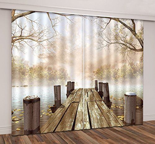 LB Rustic Dock Decor 3D Blackout Curtains,Wooden Bridge Dock in the Lake Nature Scenery Window Treatment Living Room Bedroom Window Curtains 2 Panels Set,42 x 63 Inches For Sale