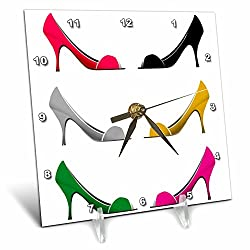 3dRose dc_111566_1 Six High Heel Shoes Facing Each Other Design Desk Clock, 6 by 6-Inch