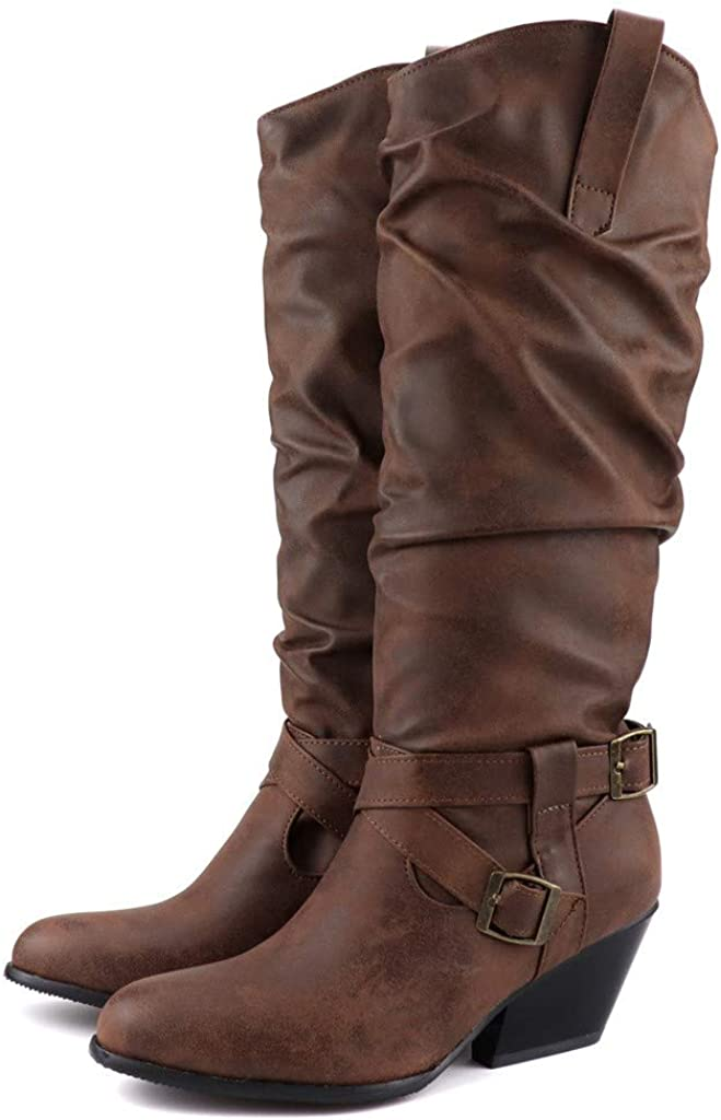 Dainzuy Womens Slouch Boots Cross Buckle Strap Stacked Square Heel Mid-Calf Boot Comfortable Winter Low Heel Boots Brown