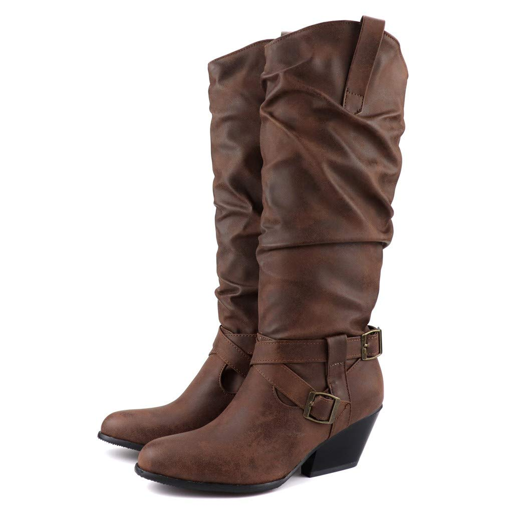 Dainzuy Women's Slouch Boots Cross Buckle Strap Stacked Square Heel Mid-Calf Boot Comfortable Winter Low Heel Boots Brown by Dainzuy Women's Shoes