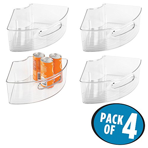 mDesign Lazy Susan Storage Bins with Handle for Kitchen Cabinets, Pantry - 1/4 Wedge, Small, Pack of 4, Clear