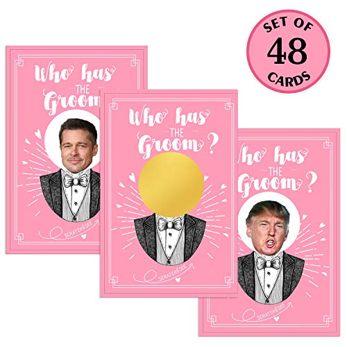 MORDUN Bridal Shower Games - Who Has the Groom Scratch off Cards for 48 Guests - Funny Bachelorette Party Games -