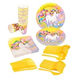 Unicorn Fantasy Party Supplies – Serves 24 – Includes Plates, Knives, Spoons, Forks, Cups and Napkins. Perfect Unicorn Birthday Party Pack for Kids Fantasy Unicorn Themed Parties.
