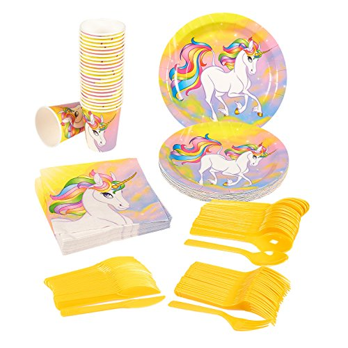 Party Supplies Cheap (Disposable Dinnerware Set - Serves 24 - Unicorn Party Supplies - Includes Plastic Knives, Spoons, Forks, Paper Plates, Napkins, Cups, Assorted Colors)
