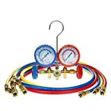 "Flexzion Ac Refrigerant Manifold Gauges HVAC Air Conditioning Charging Service Set PSI Kit for R22 R410a R407c with 3 Color-coded 60"" Hoses in Red Blue Yellow"
