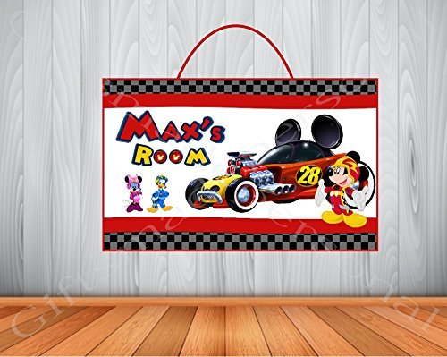 Personalized MICKEY and the ROADSTER RACERS Sign, Personalized Wooden Name Sign, MICKEY and the ROADSTER RACERS Room Decor, MICKEY and the ROADSTER RACERS Birthday Gift, MICKEY MOUSE Wall Art for $<!--$15.95-->
