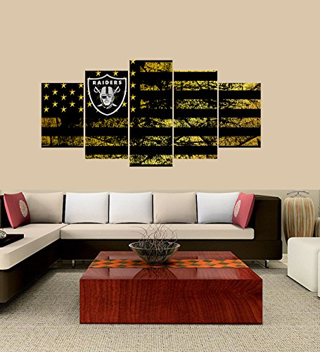 PEACOCK JEWELS Premium Quality Canvas Printed Wall Art Poster 5 Pieces/5 Pannel Wall Decor Oakland Raiders logo Painting, Home Decor Football Sport - Raiders Decorations Wall Oakland
