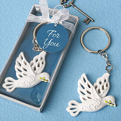 Elegant White Dove Keychain Favors in Box with Ribbon, 20 -