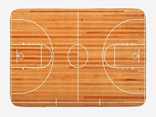 Lunarable Boy's Room Bath Mat, Standard Floor Plan on Parquet Backdrop Basketball Court Playground Print, Plush Bathroom Decor Mat with Non Slip Backing, 29.5 W X 17.5 W Inches, Pale Brown White by Lunarable (Image #2)