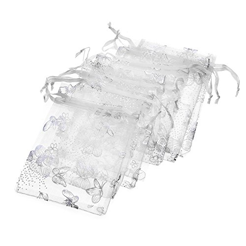 Tovip Wholesale 100PCS Organza Bag Butterfly Design Wedding Pouches Jewelry Packaging Bags (White, 3.5x4.5 (9x12cm))