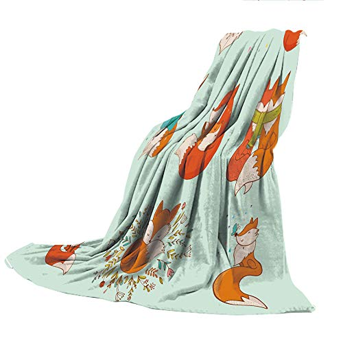 SCOCICI Customized Comfortable Blanket Sofa Bed or Bed 3D Printing,Fox,Lovely Fox Characters Sleeping Reading Romantic Couple Nature Collection Kids Comic Decorative,Multicolor,47.25