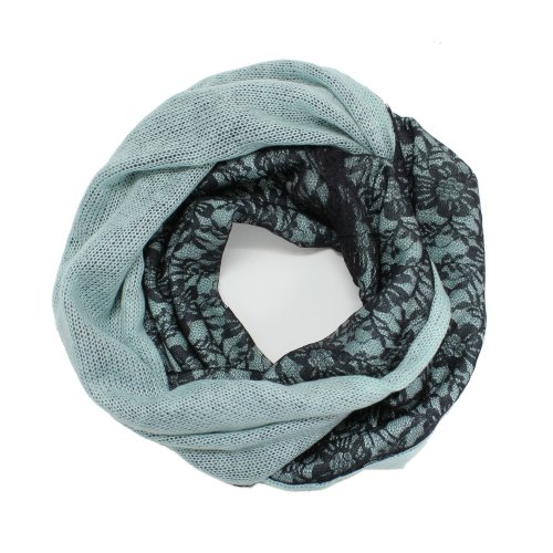 lack Lace Two Sided Infinity Circle Scarf (Mint) ()