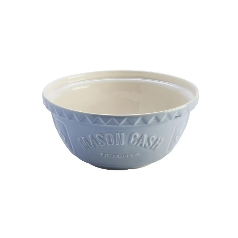 Mason Cash Bakewell Earthenware Mixing Bowl, S12, 11-1/2-Inches, Blue, Cream