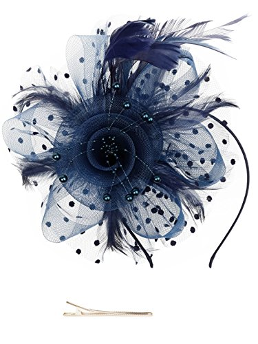 Fascinators Hat for Women Tea Party Headband Kentucky Derby Wedding Cocktail Flower Mesh Feathers Hair Clip (1-Navy)