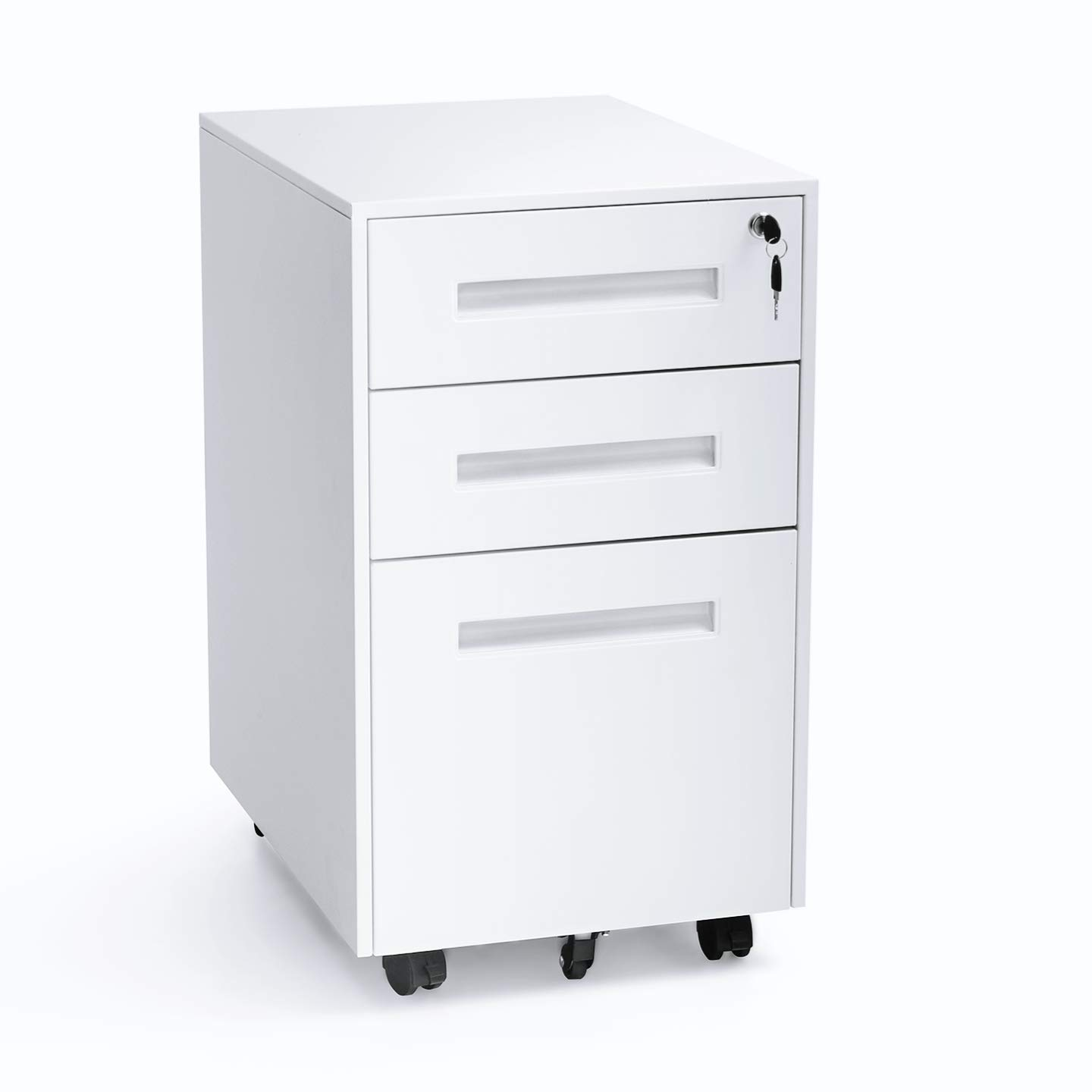 INTERGREAT Mobility Cabinet for Closet/Office, Rolling Filing Cabinet 3 Drawers Fully Assembled White B by INTERGREAT