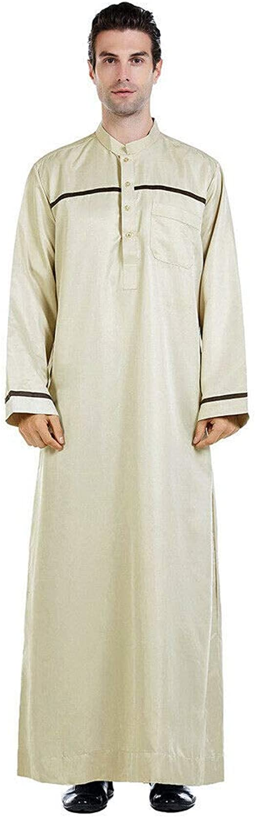 Mens Islamic Abaya Jubba Kaftan Long Sleeve Casual Ethnic Long Kaftan Thobe Robe