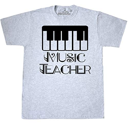 - inktastic - Music Teacher Piano Gift T-Shirt Small Ash Grey 3348d