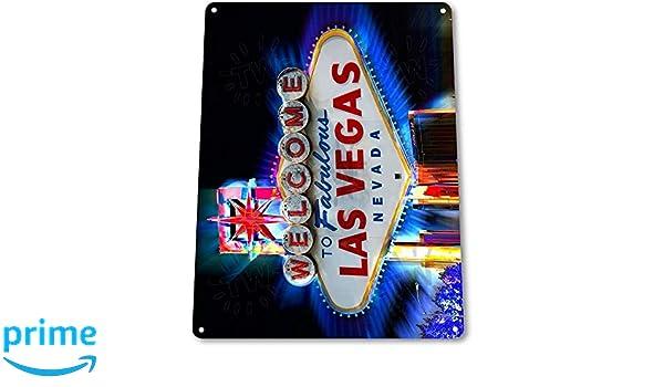 Retro Tin Sign LED Light Welcome To Las Vegas Nevada Casino Bar Club Decor Art