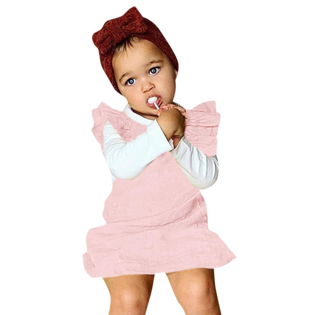 Bohelly ♚♚ New Newborn Toddler Baby Girl Sleeveless Ruffled Cotton Dress Overall Skirt Dress Pink