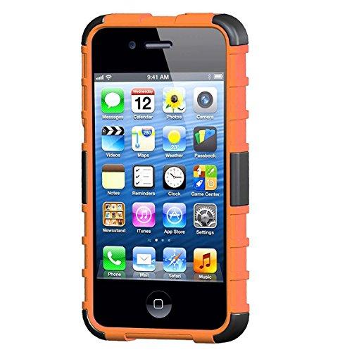 LUOLNH iPhone 4 4s Hülle (TPU Series) Silikon Stoßfest Touch 6 Schutzhülle Ständer Armor Drop Resistance Schutz Hülle für Apple iPod Touch 5G 6G (Orange)