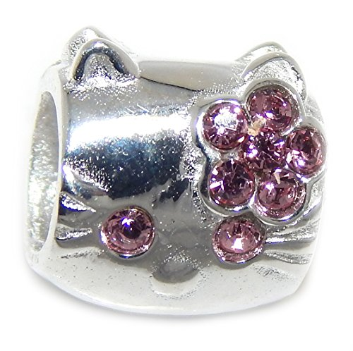 - ICYROSE Solid 925 Sterling Silver Cartoon Kitty Face with Crystals Charm Bead (Light Pink)
