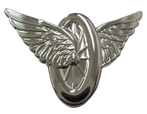 Nickel Motor - Motorcycle Officer Wings and Wheel Motorcycle Police Pin - Nickel