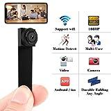 Cam Mall Mini Camera 06 Spy 1080P Hidden WiFi Wireless Small Portable Security s, Black
