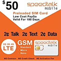 SpeedTalk Mobile Prepaid SIM Card ($50)