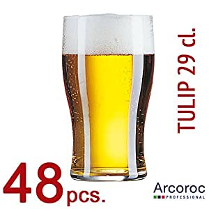 Arcoroc Tulip vasos de cerveza 570ml CE marcado caja de 48, vidrio, 285ml