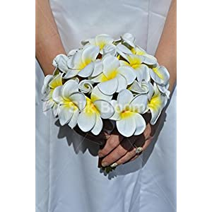 Exotic Artificial Fresh Touch Yellow Centred Frangipani Bridal Bouquet 58